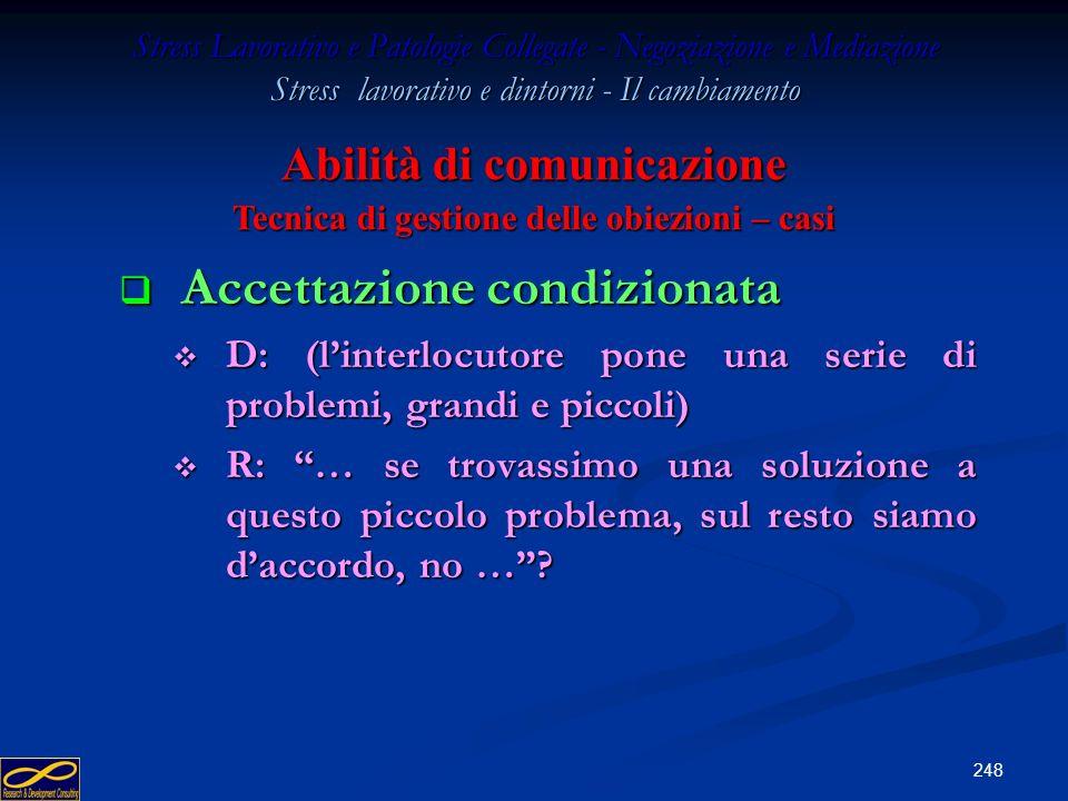 247 Stress Lavorativo e Patologie Collegate - Negoziazione e Mediazione Stress lavorativo e dintorni - Il cambiamento Svuotamento del contenuto Svuota