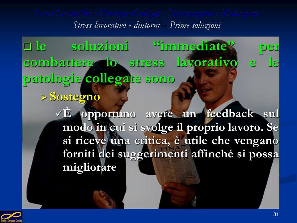 30 Stress Lavorativo e Patologie Collegate - Negoziazione e Mediazione Stress lavorativo e dintorni – Prime soluzioni le soluzioni immediate per comba