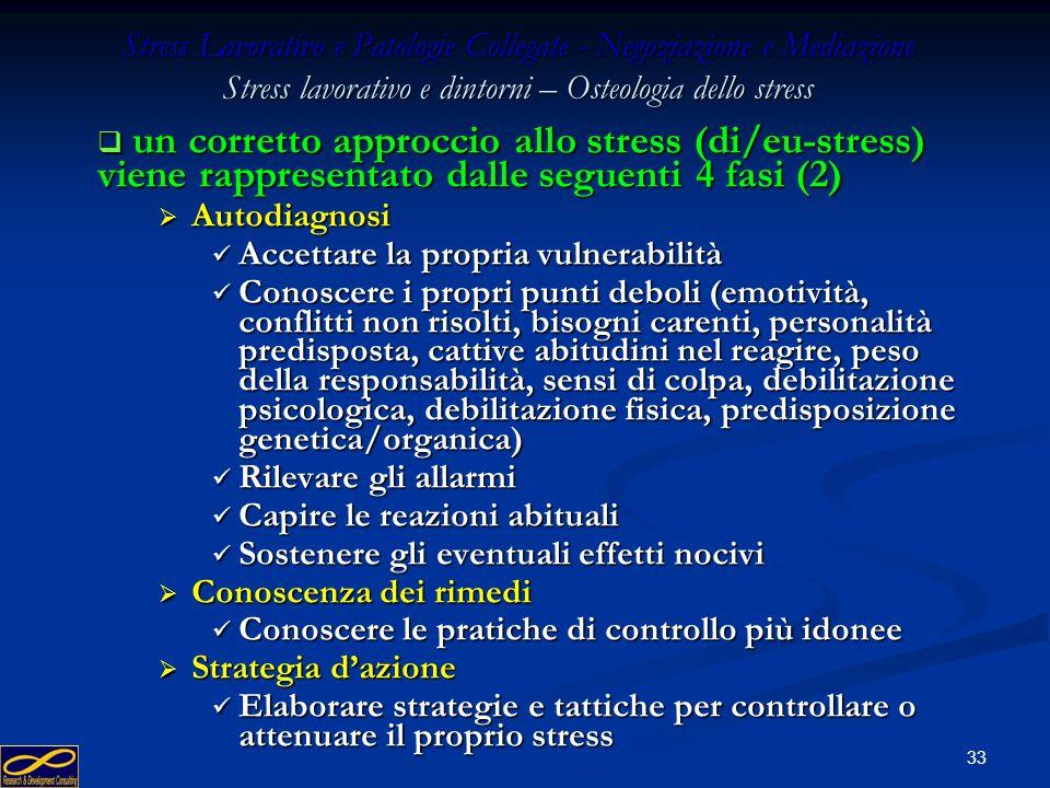 32 Stress Lavorativo e Patologie Collegate - Negoziazione e Mediazione Stress lavorativo e dintorni – Osteologia dello stress un corretto approccio al