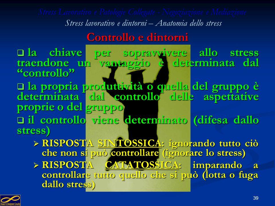 Stress Lavorativo e Patologie Collegate - Negoziazione e Mediazione Stress lavorativo e dintorni – Anatomia dello stress IL CONTROLLO
