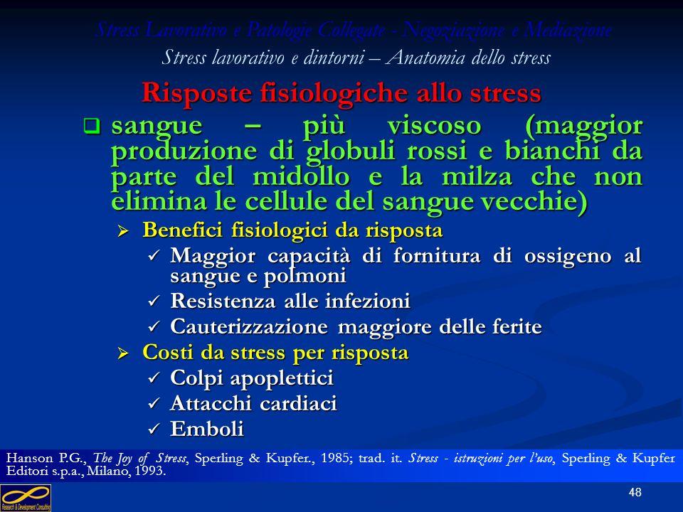 47 Risposte fisiologiche allo stress rifornimento daria – aumento (narici e vie di passaggio che si allargano, respiro più profondo) rifornimento dari