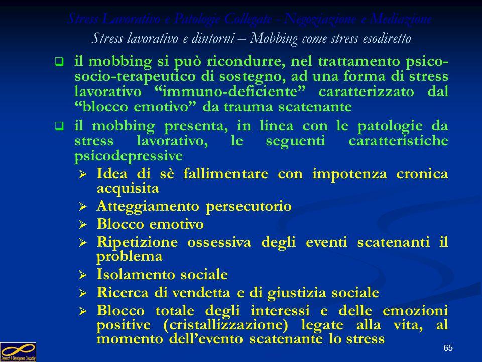 64 Il mobbing come condizione di insufficiente resistenza allo stress lavorativo (stress esodiretto) Stress Lavorativo e Patologie Collegate - Negozia