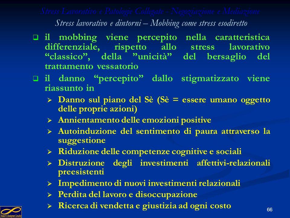 65 Stress Lavorativo e Patologie Collegate - Negoziazione e Mediazione Stress lavorativo e dintorni – Mobbing come stress esodiretto il mobbing si può