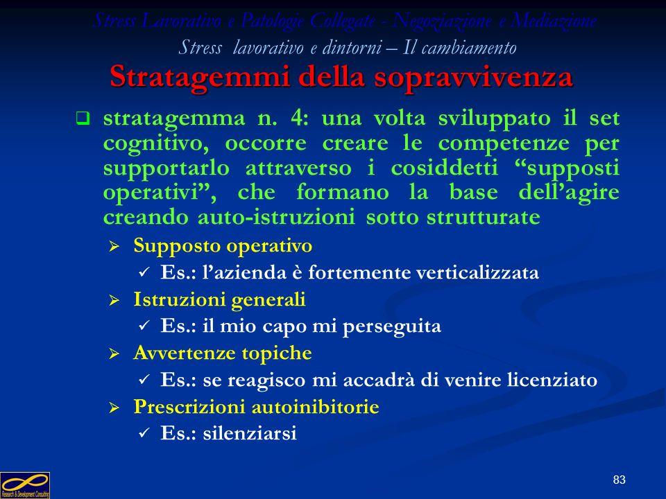 82 Stratagemmi della sopravvivenza Stress Lavorativo e Patologie Collegate - Negoziazione e Mediazione Stress lavorativo e dintorni – Il cambiamento s