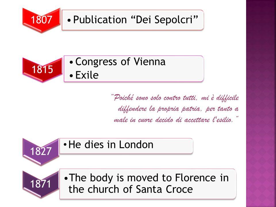 1807 Publication Dei Sepolcri 1815 Congress of Vienna Exile Congress of Vienna Exile Poiché sono solo contro tutti, mi è difficile diffendere la propr
