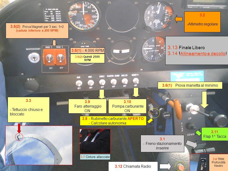 3.1 - Freno stazionamento inserire 3.9 Faro atterraggio ON 3.6(1) Prova manetta al minimo 3.5(2) Prova Magneti per 3 sec.