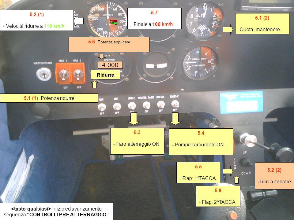5.2 (1) - Velocità ridurre a 110 km/h 5.1 (2) -Quota: mantenere 5.3 - Faro atterraggio ON 5.4 - Pompa carburante ON 5.5 - Flap: 1^TACCA 5.1 (1) Potenza ridurre 5.6 Potenza applicare inizio ed avanzamento sequenza CONTROLLI PRE ATTERRAGGIO 4.000 5.2 (2) -Trim a cabrare 5.7 - Finale a 100 km/h 5.8 - Flap: 2^TACCA Ridurre