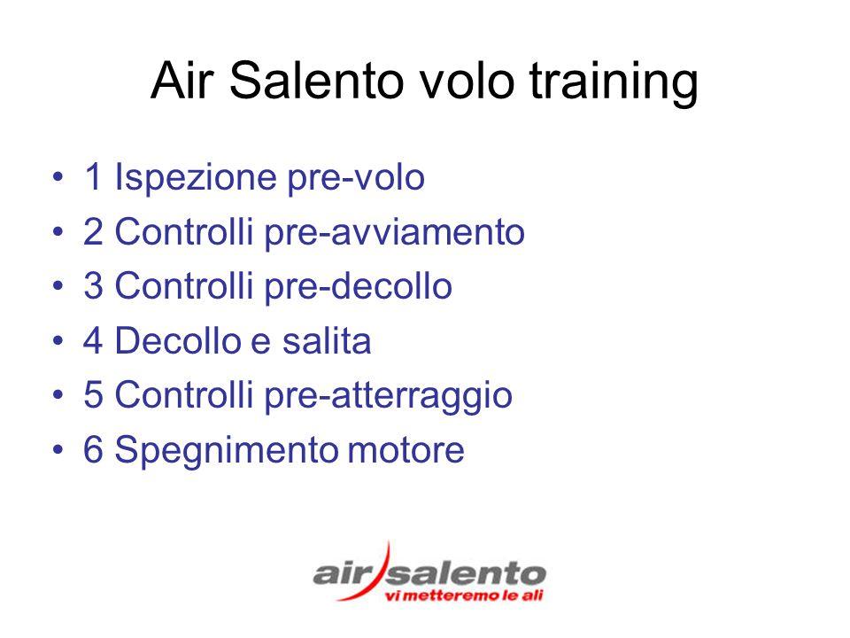Air Salento volo training 1 Ispezione pre-volo 2 Controlli pre-avviamento 3 Controlli pre-decollo 4 Decollo e salita 5 Controlli pre-atterraggio 6 Spegnimento motore