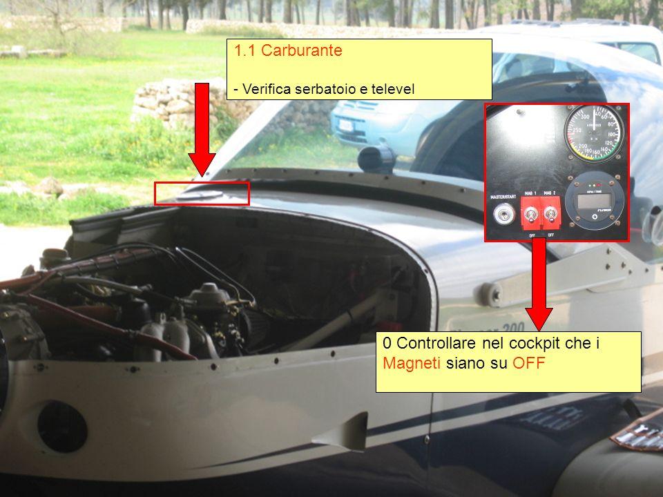1.1 Carburante - Verifica serbatoio e televel 0 Controllare nel cockpit che i Magneti siano su OFF