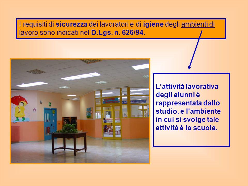 I requisiti di sicurezza dei lavoratori e di igiene degli ambienti di lavoro sono indicati nel D.Lgs. n. 626/94. Lattività lavorativa degli alunni è r