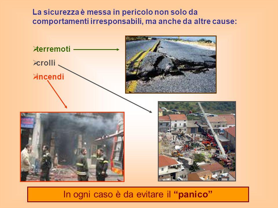 La sicurezza è messa in pericolo non solo da comportamenti irresponsabili, ma anche da altre cause: terremoti crolli incendi In ogni caso è da evitare