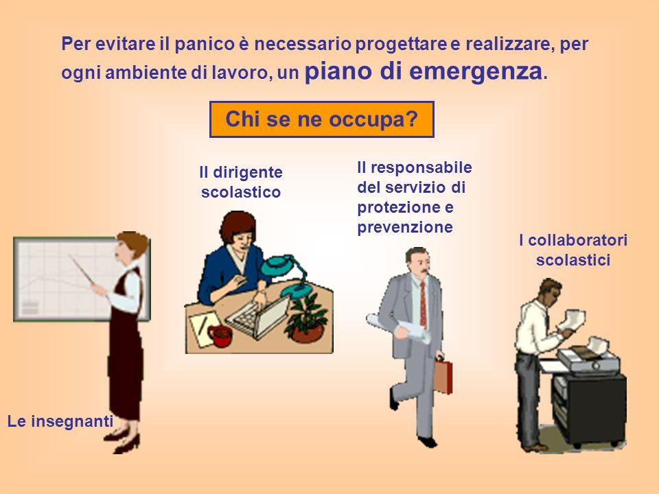Per evitare il panico è necessario progettare e realizzare, per ogni ambiente di lavoro, un piano di emergenza. Chi se ne occupa? Il dirigente scolast