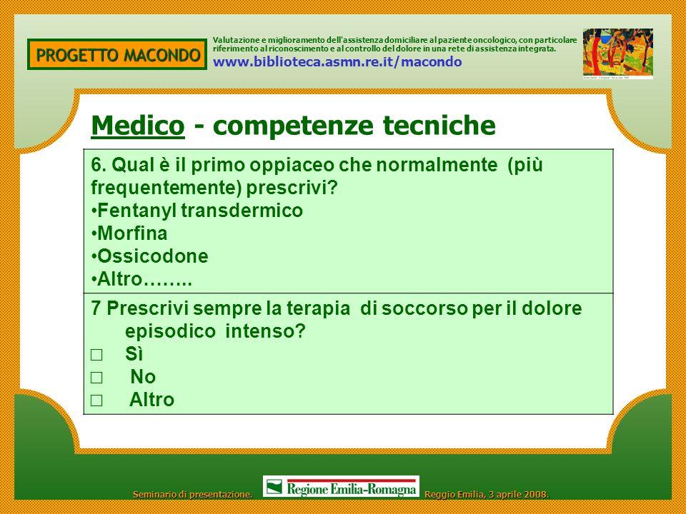 PROGETTO MACONDO Competenze Valutazione e miglioramento dell'assistenza domiciliare al paziente oncologico, con particolare riferimento al riconoscime