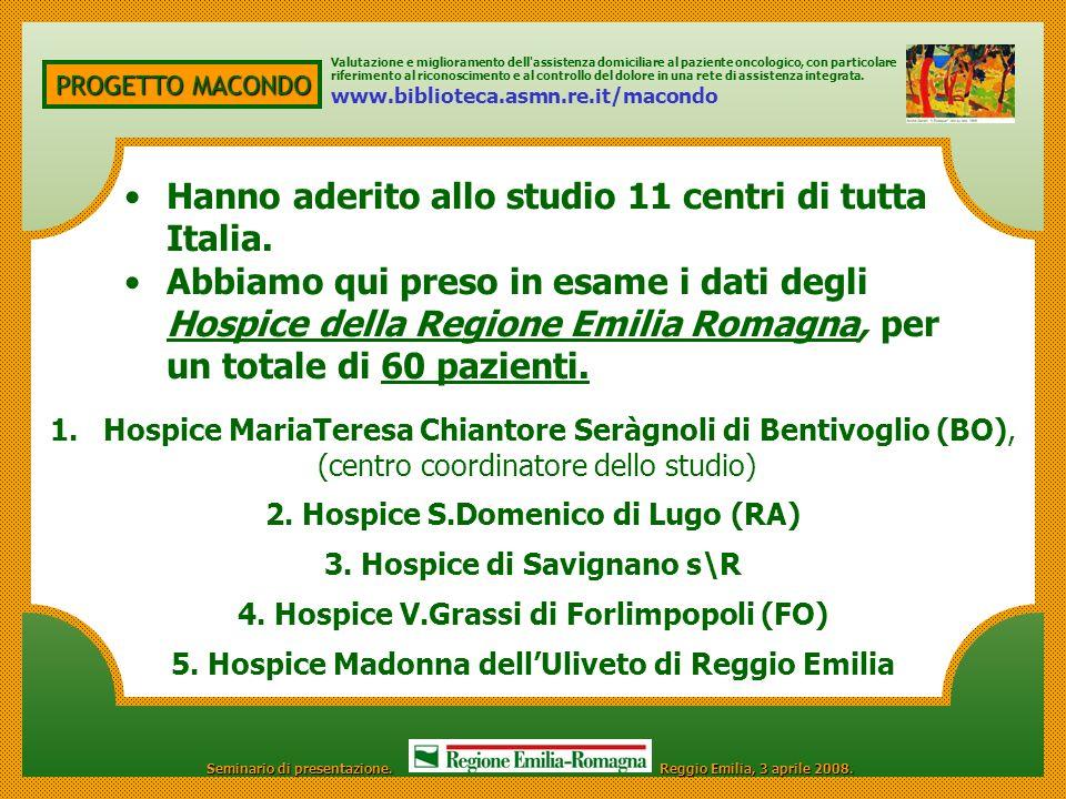 PROGETTO MACONDO 1.Hospice MariaTeresa Chiantore Seràgnoli di Bentivoglio (BO), (centro coordinatore dello studio) 2. Hospice S.Domenico di Lugo (RA)