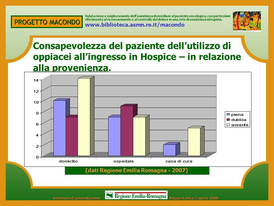PROGETTO MACONDO Valutazione e miglioramento dell'assistenza domiciliare al paziente oncologico, con particolare riferimento al riconoscimento e al co
