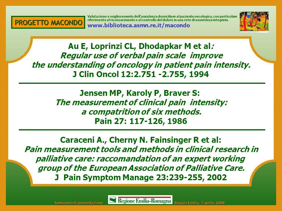 PROGETTO MACONDO Au E, Loprinzi CL, Dhodapkar M et al: Regular use of verbal pain scale improve the understanding of oncology in patient pain intensit