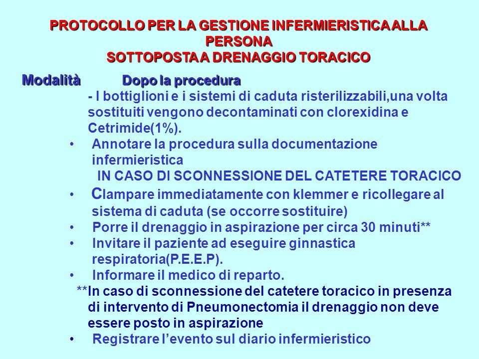 PROTOCOLLO PER LA GESTIONE INFERMIERISTICA ALLA PERSONA SOTTOPOSTA A DRENAGGIO TORACICO PROTOCOLLO PER LA GESTIONE INFERMIERISTICA ALLA PERSONA SOTTOP