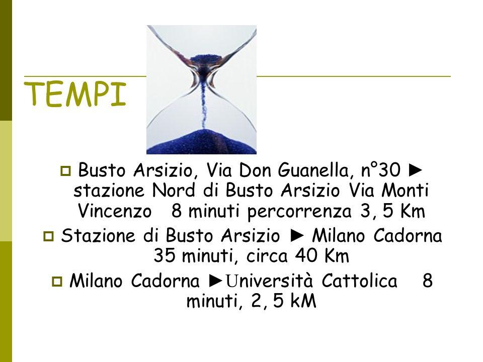 TEMPI Busto Arsizio, Via Don Guanella, n°30 stazione Nord di Busto Arsizio Via Monti Vincenzo 8 minuti percorrenza 3, 5 Km Stazione di Busto Arsizio M