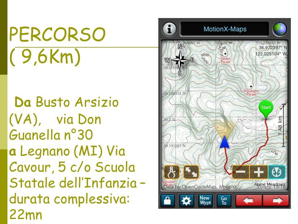 PERCORSO ( 9,6Km) Da Busto Arsizio (VA), via Don Guanella n°30 a Legnano (MI) Via Cavour, 5 c/o Scuola Statale dellInfanzia – durata complessiva: 22mn