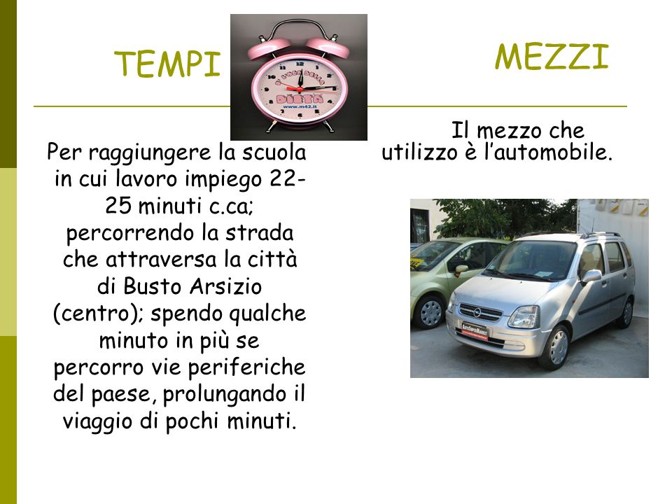TEMPI Per raggiungere la scuola in cui lavoro impiego 22- 25 minuti c.ca; percorrendo la strada che attraversa la città di Busto Arsizio (centro); spe