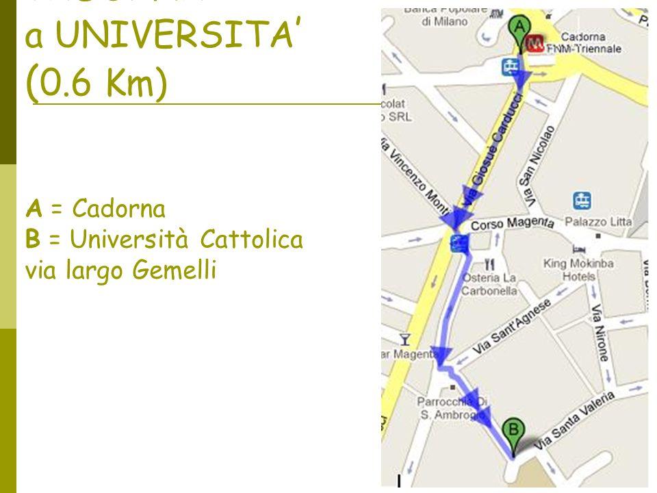 Da MILANO CADORNA a UNIVERSITA ( 0.6 Km) A = Cadorna B = Università Cattolica via largo Gemelli