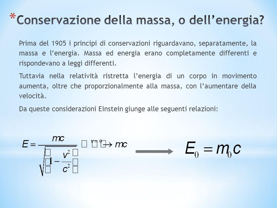Prima del 1905 i principi di conservazioni riguardavano, separatamente, la massa e lenergia. Massa ed energia erano completamente differenti e rispond