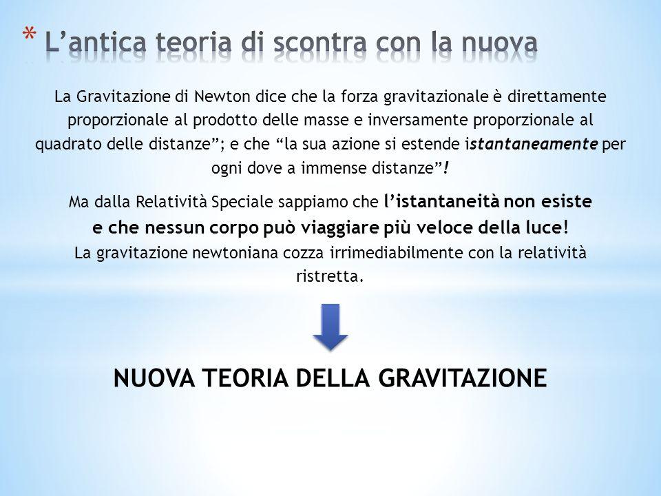 NUOVA TEORIA DELLA GRAVITAZIONE La Gravitazione di Newton dice che la forza gravitazionale è direttamente proporzionale al prodotto delle masse e inversamente proporzionale al quadrato delle distanze; e che la sua azione si estende istantaneamente per ogni dove a immense distanze.