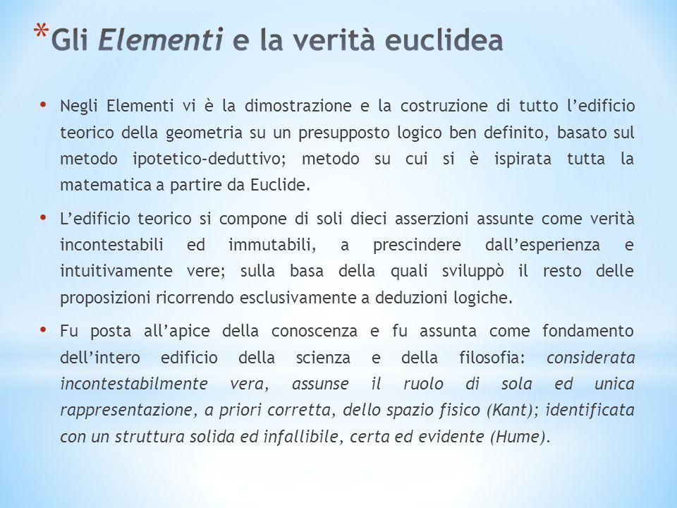 Negli Elementi vi è la dimostrazione e la costruzione di tutto ledificio teorico della geometria su un presupposto logico ben definito, basato sul metodo ipotetico–deduttivo; metodo su cui si è ispirata tutta la matematica a partire da Euclide.