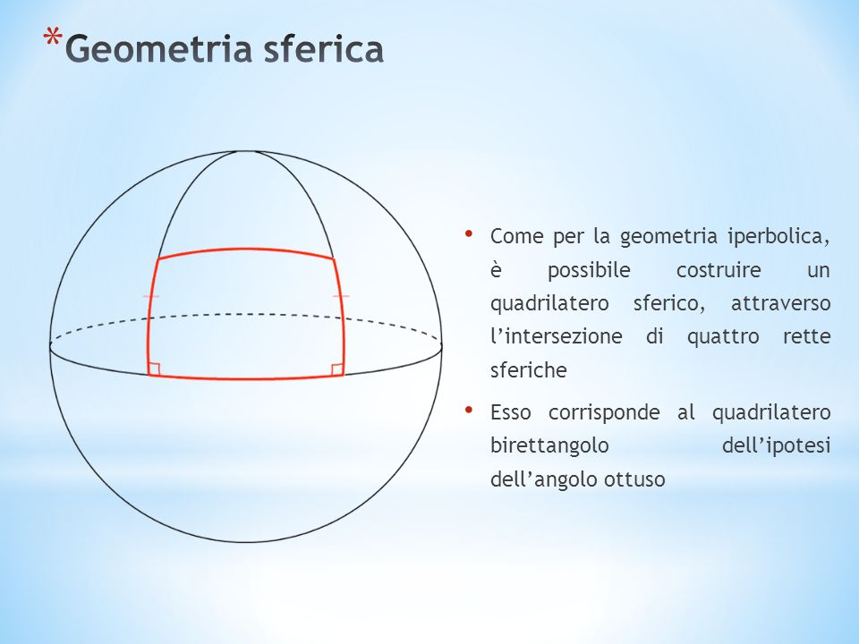 Come si è visto per la formulazione della geometria sferica è stato necessario rinunciare al postulato secondo cui per due punti passa una e una sola retta.