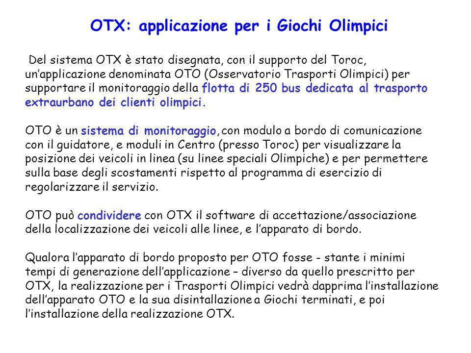 Del sistema OTX è stato disegnata, con il supporto del Toroc, unapplicazione denominata OTO (Osservatorio Trasporti Olimpici) per supportare il monito