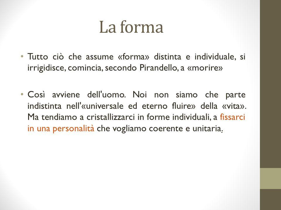 La forma Tutto ciò che assume «forma» distinta e individuale, si irrigidisce, comincia, secondo Pirandello, a «morire» Così avviene dell uomo.