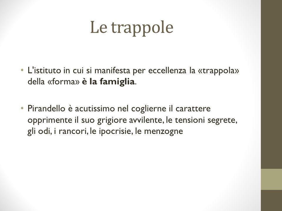 Le trappole L'istituto in cui si manifesta per eccellenza la «trappola» della «forma» è la famiglia. Pirandello è acutissimo nel coglierne il caratter