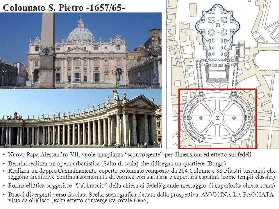 Nuovo Papa Alessandro VII, vuole una piazza sconvolgente per dimensioni ed effetto sui fedeli Bernini realizza un opera urbanistica (Salto di scala) c