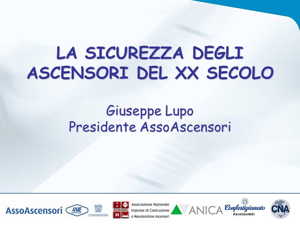 Ascensoristi LA SICUREZZA DEGLI ASCENSORI DEL XX SECOLO Giuseppe Lupo Presidente AssoAscensori