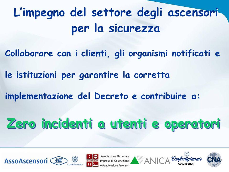 Ascensoristi Collaborare con i clienti, gli organismi notificati e le istituzioni per garantire la corretta implementazione del Decreto e contribuire