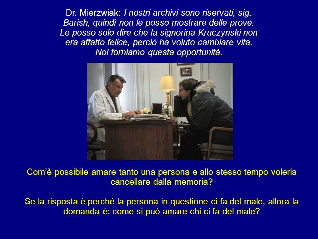 Dr. Mierzwiak: I nostri archivi sono riservati, sig. Barish, quindi non le posso mostrare delle prove. Le posso solo dire che la signorina Kruczynski