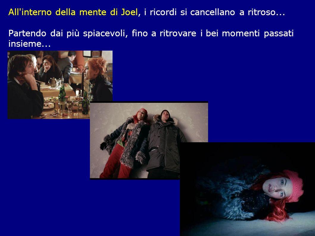 All'interno della mente di Joel, i ricordi si cancellano a ritroso... Partendo dai più spiacevoli, fino a ritrovare i bei momenti passati insieme...