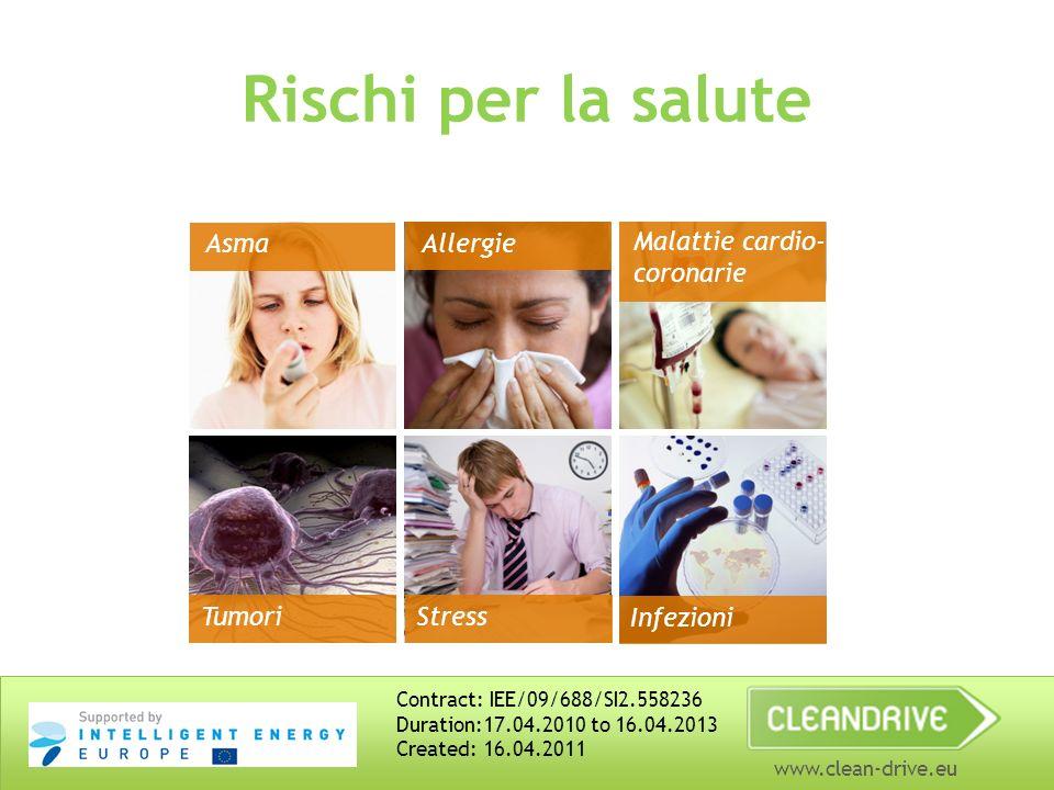 www.clean-drive.eu Rischi per la salute Asma Allergie Malattie cardio- coronarie Tumori Stress Infezioni Contract: IEE/09/688/SI2.558236 Duration:17.04.2010 to 16.04.2013 Created: 16.04.2011