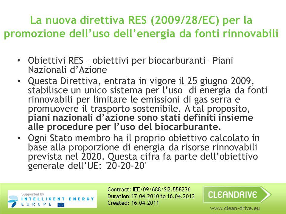 www.clean-drive.eu La nuova direttiva RES (2009/28/EC) per la promozione delluso dellenergia da fonti rinnovabili Obiettivi RES – obiettivi per biocarburanti– Piani Nazionali dAzione Questa Direttiva, entrata in vigore il 25 giugno 2009, stabilisce un unico sistema per luso di energia da fonti rinnovabili per limitare le emissioni di gas serra e promuovere il trasporto sostenibile.