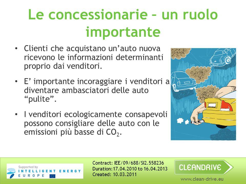 www.clean-drive.eu Le concessionarie – un ruolo importante Clienti che acquistano unauto nuova ricevono le informazioni determinanti proprio dai vendi