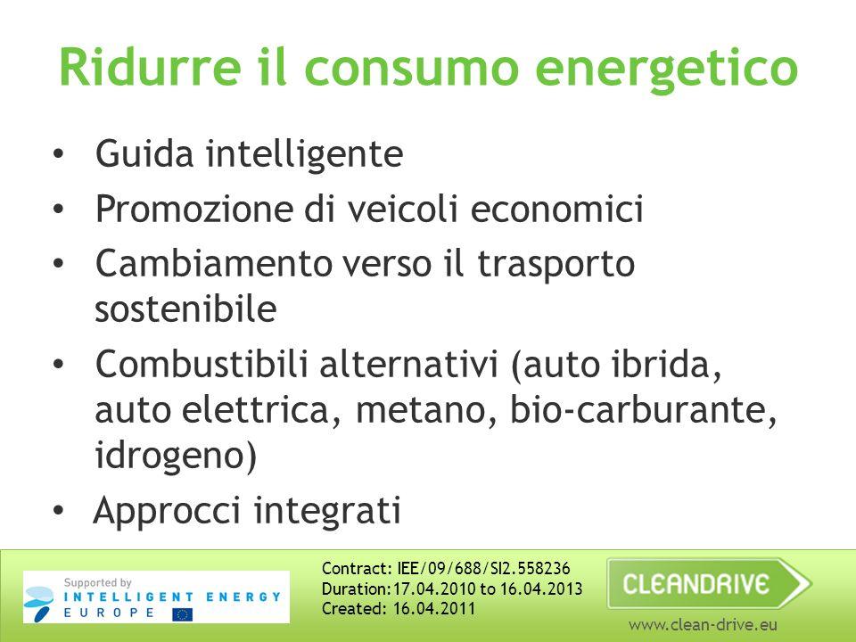 www.clean-drive.eu Ridurre il consumo energetico Guida intelligente Promozione di veicoli economici Cambiamento verso il trasporto sostenibile Combustibili alternativi (auto ibrida, auto elettrica, metano, bio-carburante, idrogeno) Approcci integrati Contract: IEE/09/688/SI2.558236 Duration:17.04.2010 to 16.04.2013 Created: 16.04.2011