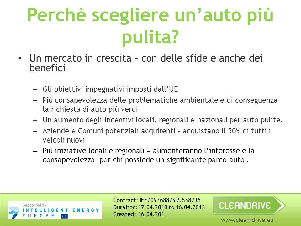 www.clean-drive.eu Il potenziale risparmio energetico – nei trasporti stradali Veicoli -Auto private e piccoli veicoli commerciali (tranne le elettriche) -Percentuale di veicoli elettrici -Camion (lunghe distanze) e pullman -TIR e autobus Altre misure: (Ecoguida, limiti di velocità) -Auto private e piccoli veicoli commerciali -Veicoli pesanti Potenziale risparmio (veicoli) entro il 2030 50 % 20% 25% 30% 15% Contract: IEE/09/688/SI2.558236 Duration:17.04.2010 to 16.04.2013 Created: 16.04.2011