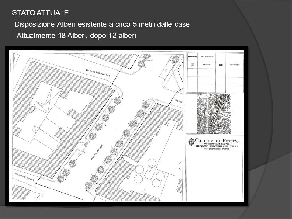 STATO ATTUALE Disposizione Alberi esistente a circa 5 metri dalle case Attualmente 18 Alberi, dopo 12 alberi