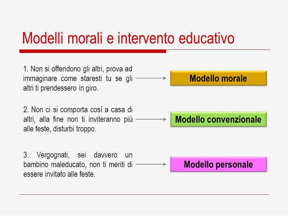 Modelli morali e intervento educativo 1. Non si offendono gli altri, prova ad immaginare come staresti tu se gli altri ti prendessero in giro. 2. Non