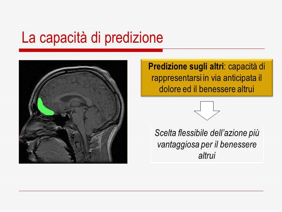 La capacità di predizione Predizione sugli altri : capacità di rappresentarsi in via anticipata il dolore ed il benessere altrui Scelta flessibile del