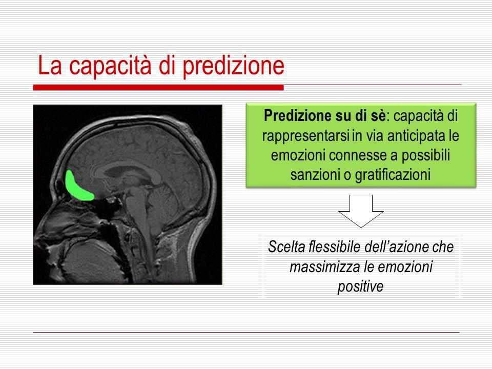 La capacità di predizione Predizione su di sè : capacità di rappresentarsi in via anticipata le emozioni connesse a possibili sanzioni o gratificazion