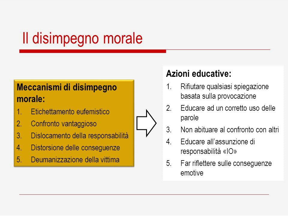 Il disimpegno morale Meccanismi di disimpegno morale: 1.Etichettamento eufemistico 2.Confronto vantaggioso 3.Dislocamento della responsabilità 4.Disto