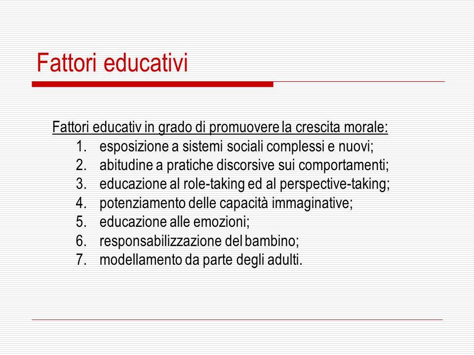 Fattori educativi Fattori educativ in grado di promuovere la crescita morale: 1.esposizione a sistemi sociali complessi e nuovi; 2.abitudine a pratich