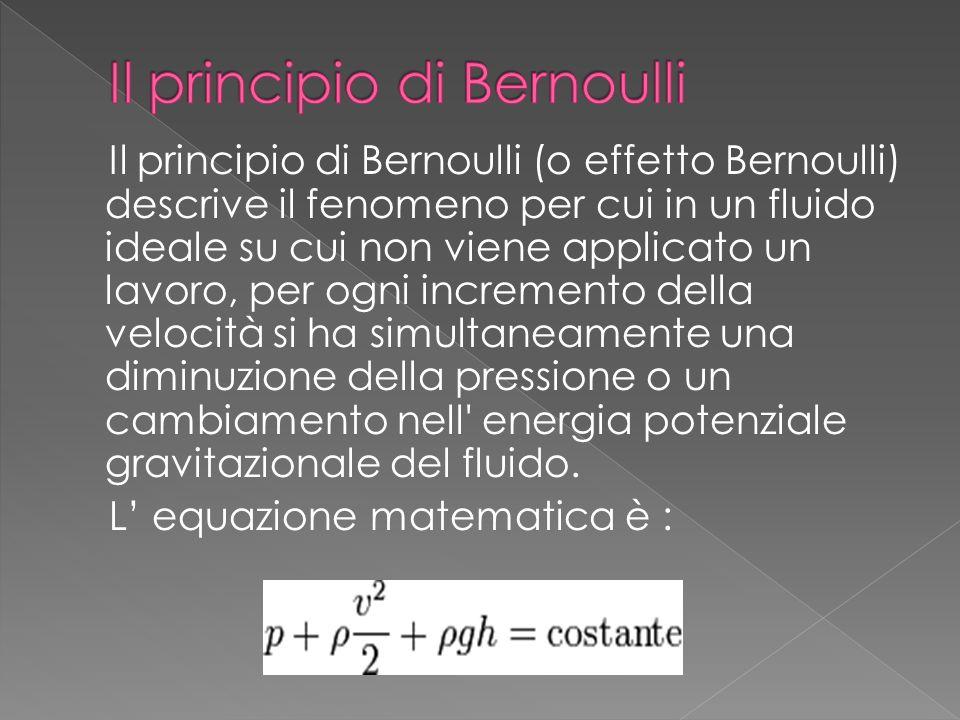 Il principio di Bernoulli (o effetto Bernoulli) descrive il fenomeno per cui in un fluido ideale su cui non viene applicato un lavoro, per ogni increm