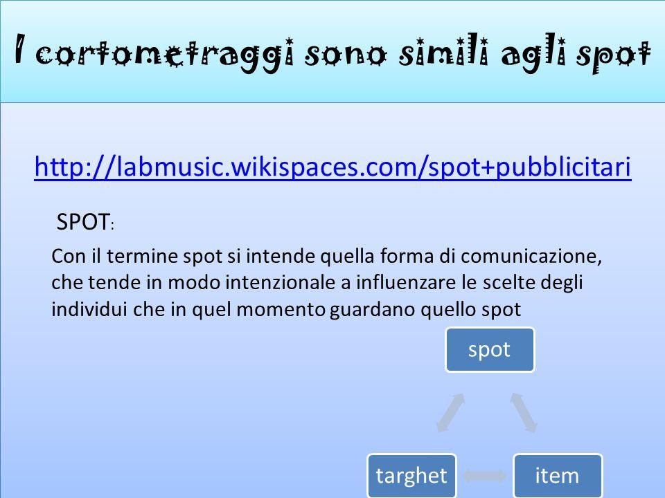 I cortometraggi sono simili agli spot http://labmusic.wikispaces.com/spot+pubblicitari Con il termine spot si intende quella forma di comunicazione, c